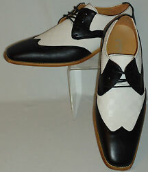 Mens Retro Black White Dress Shoes Antonio Cerrelli 6656 S