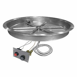 Firegear Spark Ignition Gas Fire Pit Burner Kit with Flame Sensing Round Bowl P