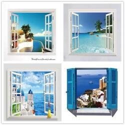Window Wall Sticker Removable Beach Sea 3D Home Decor Decal Wall Poster $18.90