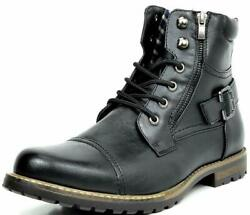 BRUNO MARC Men Military Motorcycle Combat Riding Ankle Leather Boots Size 6.5 15 $32.89