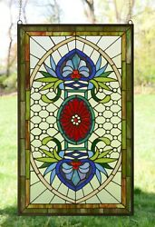 Decorative Jeweled Handcrafted stained glass panel 20.5quot; x 34.5quot; $239.99