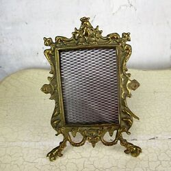 Rococo Vintage French Standing Brass Embossed Oval picture frame Ornate 9.44quot; $59.50