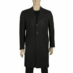 Brioni Italy Men's Charcoal Cashmere Luxury Designer Coat 52 Single Breasted