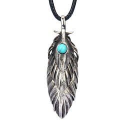 Cool Men's Unisex Alloy Feather Sliding Pendant Turquoise Wax Rope Long Necklace