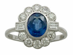 1.52 ct Sapphire and 0.59 ct Diamond 18 ct White Gold Dress Ring Contemporary