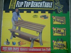 FLIP TOP BENCH TABLE CONVERTS GARDEN BENCH TO PICNIC TABLE--INCLUDES HARDWARE
