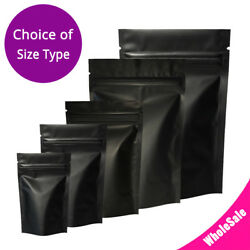 Assorted Size Matte Black Two Sided Foil Mylar Stand up Zip Lock Pouch Bag B01 $18.99