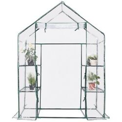 Portable Outdoor 4 Shelves Walk In Greenhouse Mini Plant Garden Clear Poly Cover