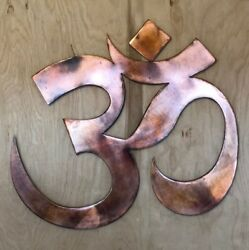 Om Symbol Buddha Wall Metal Art Hanging with Rustic Copper Finish $29.95