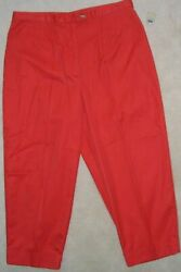 NWT Womens TALBOTS Orange 100% COTTON PANTS Size 16P 14P CAPRI 33x23 TAPERED