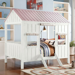 Casual Fun Spring Cottage Cabin Gable Roof Curtain Wood Full Bed in White