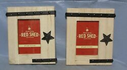 Red Shed Wooden Picture Frame Barn Door Star Style 4x6 Cabin Country Decor