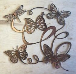 Butterfly Ribbon Wall Metal Art with Rustic Copper Finish Hanging $29.95
