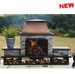 Outdoor Large Fireplace Kits Wood Burning BBQ Heat Stone Steel Bowl Screen DIY