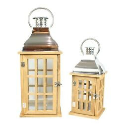 Large Wooden Candle Lanterns Set for Home Garden Patio GBP 39.95