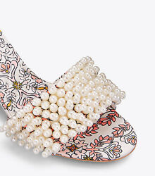 New Tory Burch TATIANA Beaded PEARL Slide Sandals Hicks Garden Satin Shoes 9.5