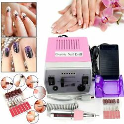 30000 RPM Professional Electric Nail Drill File Bits Machine Manicure Kit Pink H