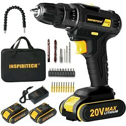 20Volt drill 2 Speed Electric Cordless Drill Driver with Bits Set amp; 2 Batteries $54.99