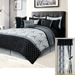 Paris Queen or King Bedding Bed in a Bag 12 Piece Set Eiffel Tower Black Gray