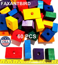 Wooden Colored 60 Wood Blocks Bird Parrot Toys african grey cockatoo macaw $22.90
