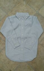 Designer Boys Oxford Shirt White Blue striped Button Down Collar LS New