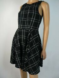 Elle Black White Plaid Fit amp; Flare Cocktail Wear to Work Dress 2 NEW E582 $19.99