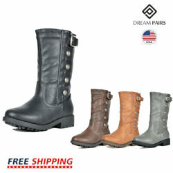 DREAM PAIRS Girls Toddler Kids Faux Fur Lining Winter Motorcycle Riding Boots $16.49