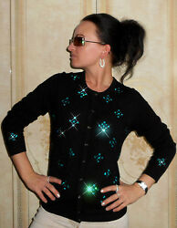 Luxe Oh` Dor 100% Cashmere Women Cardigan Black Turquoise GR 3638 SM
