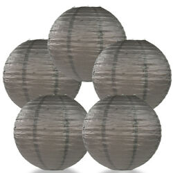 5 PACK 8quot; Driftwood Grey Round Paper Lantern Even Ribbing Hanging Decoration $5.56