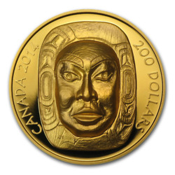Canada 2014  $200 Matriarch Moon Mask  1 Oz. Pure Gold Coin