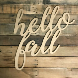 Wooden Hello Fall Word Wooden Fall Word  Wooden Holiday Cutout
