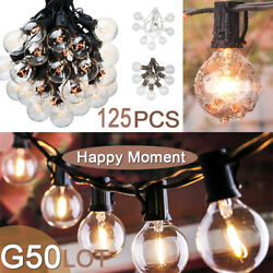 1250 pcs  Patio Party String Light Clear Bulb 100FT G50 Outdoor Garden GlobeZM