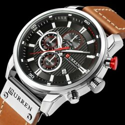 Curren Mens Waterproof Leather Army Military Chronograph Date Quartz Wrist Watch