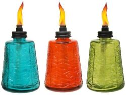 Molded Glass Table Torch 6quot; Outdoor Oil Lamp 3pcs Patio Garden Party Wedding NEW $34.83