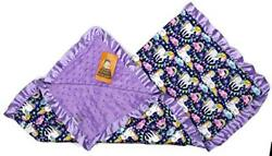 Dear Baby Gear Baby Blankets Rainbows and White Unicorns on Navy Lavender 32