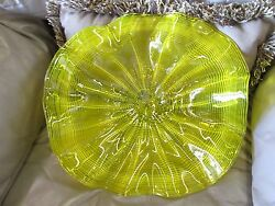 Blown Glass Wall Flowers Wall Platter New YELLOW 12 inches Handmade $50.00
