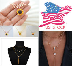 Hot Sunflower Pendant Sun Flower Rose Gold Necklace Chain Jewelry Cute Girl