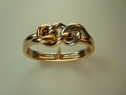 VINTAGE FRENCH 18K YELLOW & WHITE GOLD WOVEN KNOT RING DESIGN SCARF CLIP