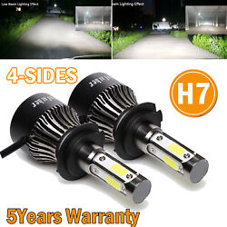 Pair H7 2000W 220000LM LED Headlight Bulbs Kit High or Low Beam CREE 4Side 6000K