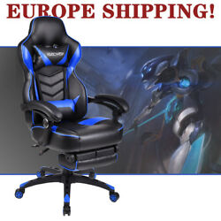 Video Computer Gaming Chair Office Ergonomic Racing Style PU Leather w Footrest