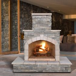 Premium 78-inch Gray Cultured Stone Propane Gas Outdoor Fireplace Patio Deck