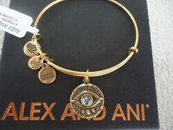 Alex and Ani EVIL EYE  Russian Gold Charm Bangle New W Tag Card