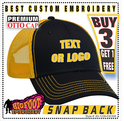Baseball cap hat Custom Embroidery Personalized Embroidered OTTOCAP BLK YELLOW $19.99