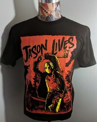 BRAND NEW JASON LIVES FRIDAY THE 13TH YELLOW RED HALLOWEEN HORROR BLACK T SHIRT