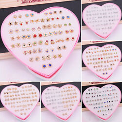 USA 36 PairsSet Fashion Crystal Ear Stud Earrings Women Jewelry New Year Gifts