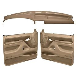 For Ford F-150 92-96 Dashboard Cover Light Brown Dash Cover & Door Panels Combo