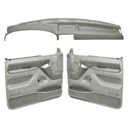 For Ford F-150 92-96 Dashboard Cover Light Gray Dash Cover & Door Panels Combo