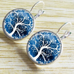 Women Silver Alloy 18 mm Round Glass Surface Tree Of Life Snap Closure Earrings