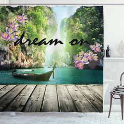 Quote Shower Curtain Idyllic Zen Themed Boat Print for Bathroom $34.99