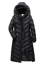 ELORA Maxi Women#x27;s Puffer Full Length Coat with Fur Trim Removable Hood $99.99